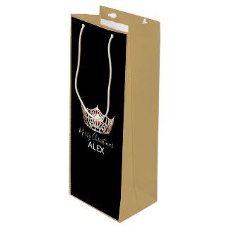 Miss America Gold Crown Silk Gift Bag-Christmas Wine Gift Bag