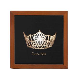 Miss America Gold Crown Wood Desk Organizer-Since Desk Organizer