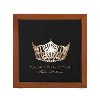 Miss America Gold Crown Wood Desk Organizer-Title Desk Organizer