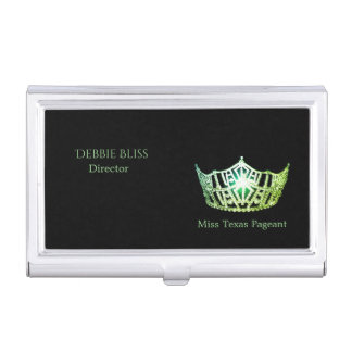 Miss America Green Crown Business Card Holder
