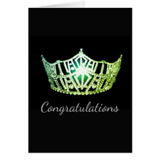 Miss America Green Crown Greeting Card-Congrats Card