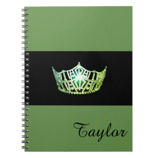 Miss America Green Crown Notebook- Custom Name Notebook