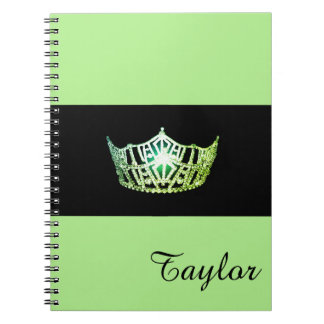 Miss America Green Crown Notebook- Custom Name Spiral Notebook