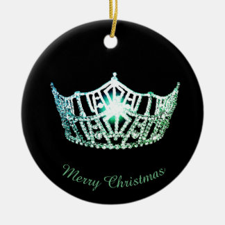 Miss America Green Crown Round Ornament