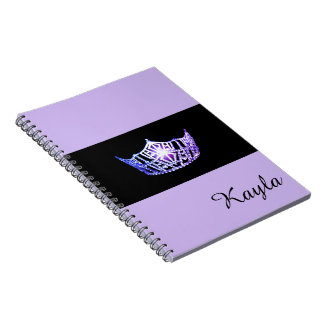 Miss America Lavender Crown Notebook- Custom Name Notebooks