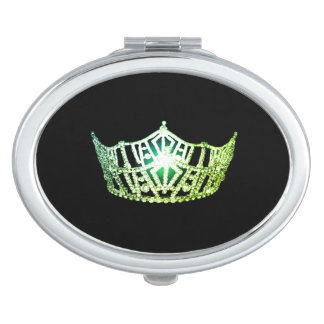 Miss America Lime Green Crown Compact Mirror