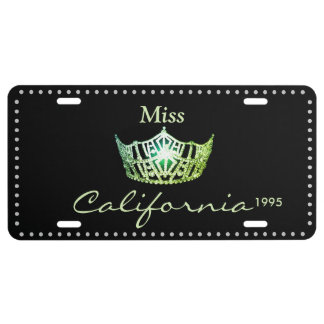Miss America Lime Green Crown License Plate