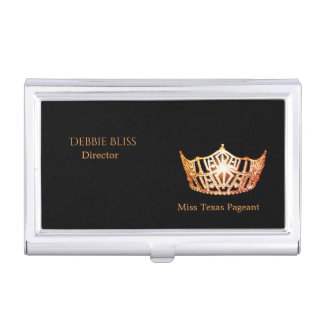 Miss America Orange Crown Business Card Holder