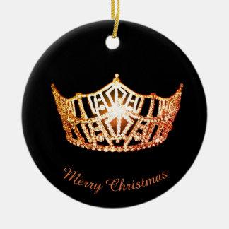 Miss America Orange Crown Round Ornament