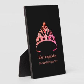 Miss America Orange Pink Tiara Crown Awards Plaque