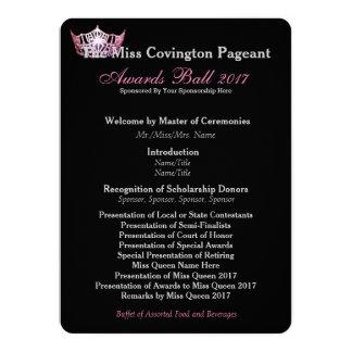 "Miss America Pink Crown Awards Ball Program Card 5.5"" X 7.5"" Invitation Card"