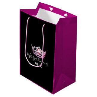 Miss America Pink Crown Fuchsia Gift Bag-Christmas Medium Gift Bag