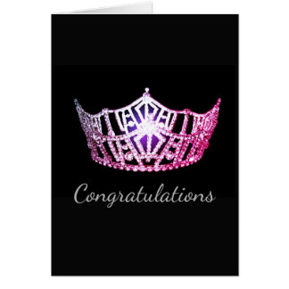 Miss America Pink Crown Greeting Card-Congrats Card