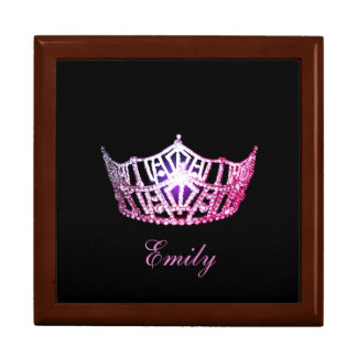 Miss America Pink Crown Personal Name Jewerly Box