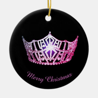 Miss America Pink Crown Round Ornament