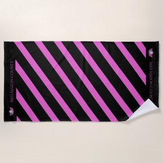 Miss America Raspberry Stripe Crown Beach Towel