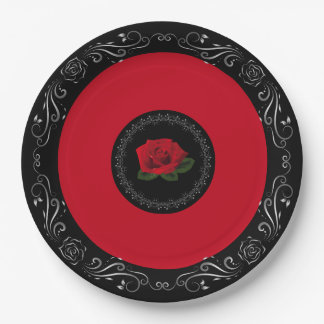 "Miss America Red Rose 9"" Paper Plates"