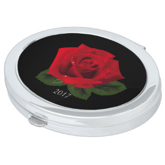 Miss America Red Rose Compact Mirror w/Date