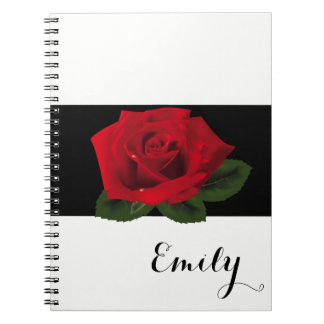 Miss America Red Rose Notebook- Custom Name Spiral Notebooks