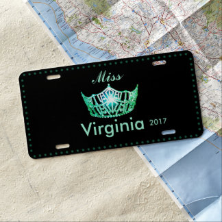 Miss America Sea Green Crown License Plate