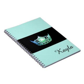 Miss America Sea Green Crown Notebook- Custom Name Spiral Notebook