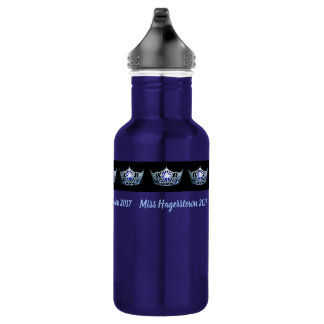 Miss America Silver-Blu Crown Pexagon Water Bottle