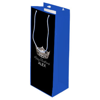 Miss America Silver Crown Blue Gift Bag-Christmas Wine Gift Bag