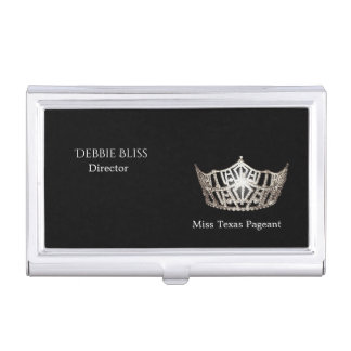 Miss America Silver Crown Business Card Holder