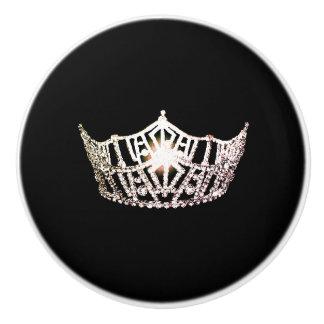 Miss America Silver Crown Ceramic Cabinet Knob