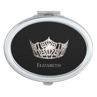 Miss America Silver Crown Compact Mirror-Name Travel Mirror