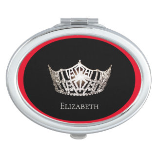 Miss America Silver Crown Compact Mirror-Name Travel Mirrors