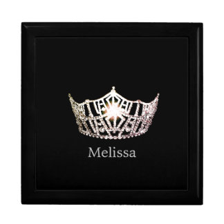 Miss America Silver Crown Custom Name Jewelry Box