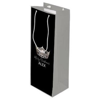 Miss America Silver Crown Gray Gift Bag-Christmas Wine Gift Bag