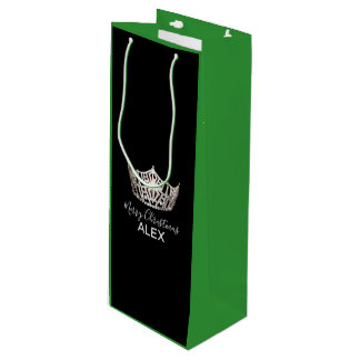 Miss America Silver Crown Green Gift Bag-Christmas Wine Gift Bag
