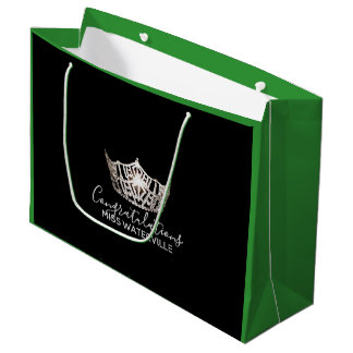 Miss America Silver Crown Green Gift Bag-Large Large Gift Bag