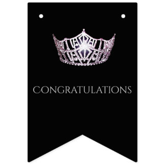 Miss America Silver Crown Party Bunting Banner