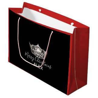 Miss America Silver Crown Red Gift Bag-Christmas Large Gift Bag