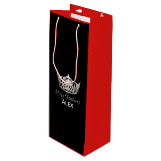 Miss America Silver Crown Red Gift Bag-Christmas Wine Gift Bag