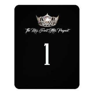 Miss America Silver Crown Table Number Card