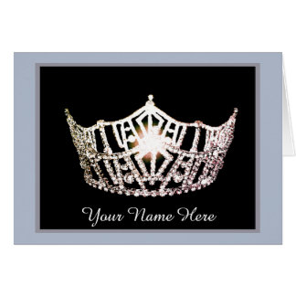 Miss America Silver Crown Thank You Card- Lt Blue Card