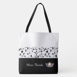 Miss America Silver Crown Tote Bag-BLK Scroll