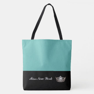 Miss America Silver Crown Tote Bag-Large Aqua
