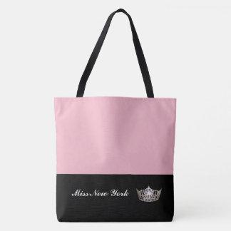 Miss America Silver Crown Tote Bag-Large Pink