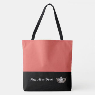 Miss America Silver Crown Tote Bag-Large Salmon