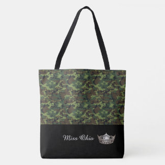 Miss America Silver Crown Tote Bag LRGE Green Camo