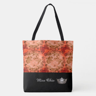 Miss America Silver Crown Tote Bag  Orange Camo