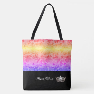 Miss America Silver Crown Tote Bag Rainbow Camo