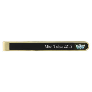 Miss America style Classic Tie Bar-Aqua/BLK Gold Finish Tie Bar