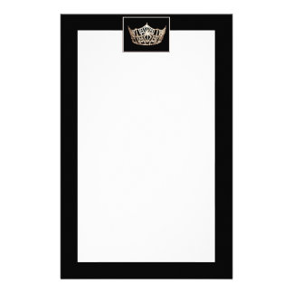 Miss America style Crown Borders Stationery