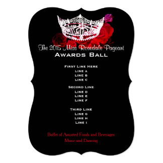 "Miss America style Crown & Roses Awards Ball 5"" X 7"" Invitation Card"